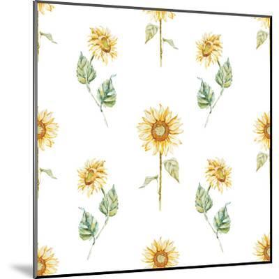 Watercolor Sunflower Pattern-Zenina-Mounted Art Print