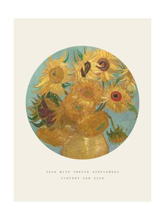 Old Masters, New Circles: Sunflowers, c.1889-Vincent van Gogh-Framed Giclee Print