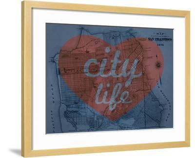 City Life - 1876, San Francisco 1876, California, United States Map--Framed Giclee Print