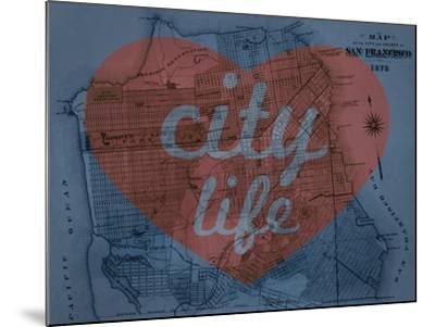 City Life - 1876, San Francisco 1876, California, United States Map--Mounted Giclee Print
