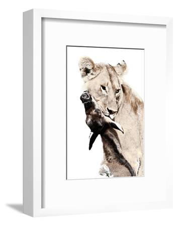 The Kill. A Lioness with a Blue Wildebeest Calf, Serengeti National Park, East Africa-James Hager-Framed Premium Giclee Print