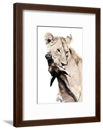 The Kill. A Lioness with a Blue Wildebeest Calf, Serengeti National Park, East Africa-James Hager-Framed Giclee Print