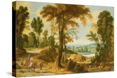 A Wooded River Landscape with Figures on a Road-Jan Wildens-Stretched Canvas Print