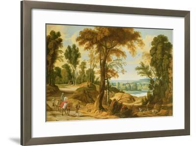 A Wooded River Landscape with Figures on a Road-Jan Wildens-Framed Giclee Print