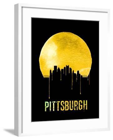 Pittsburgh Skyline Yellow--Framed Art Print