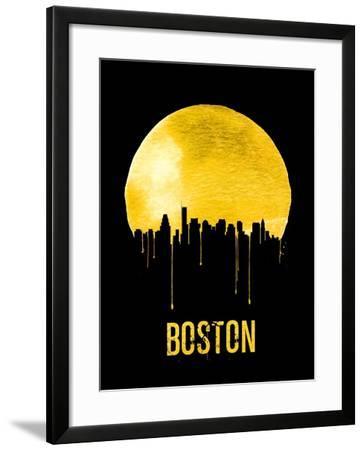 Boston Skyline Yellow--Framed Art Print