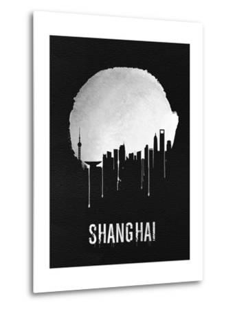 Shanghai Skyline Black--Metal Print