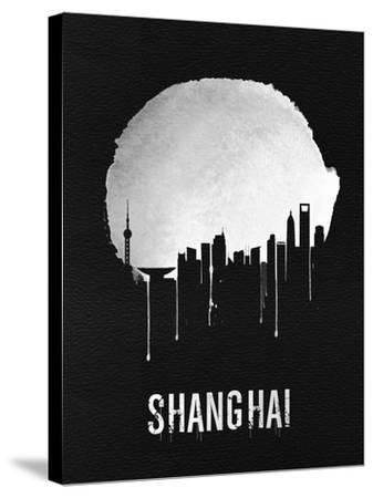 Shanghai Skyline Black--Stretched Canvas Print