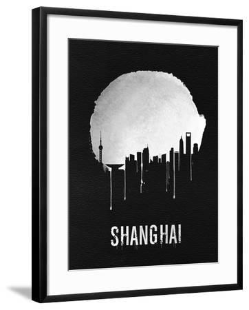 Shanghai Skyline Black--Framed Art Print