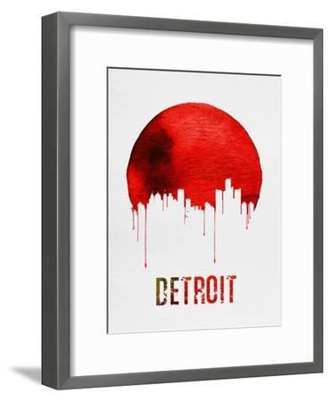 Detroit Skyline Red--Framed Art Print