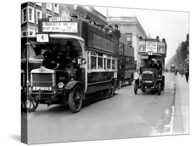 Buses Driven by Volunteers Seen Here in Oxford Street During the 10th Day of the General Strike-Staff-Stretched Canvas Print