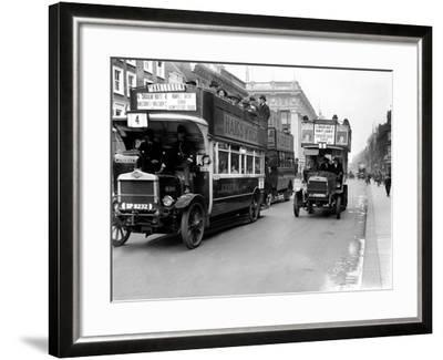 Buses Driven by Volunteers Seen Here in Oxford Street During the 10th Day of the General Strike-Staff-Framed Photographic Print