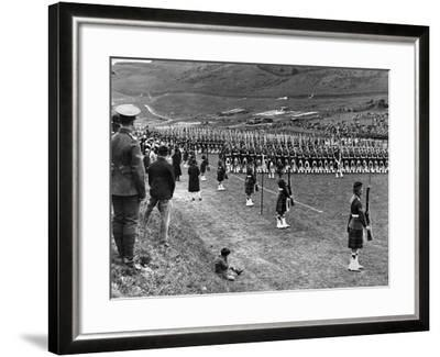 Prince of Wales Inspects Seaforth Highlanders During a Trooping of the Colour, 1929-Staff-Framed Photographic Print