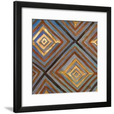 Ikat and Pattern with Gold-Patricia Pinto-Framed Art Print