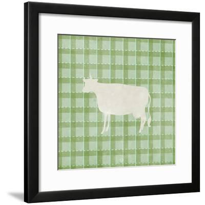 Farm Cow on Plaid-Elizabeth Medley-Framed Art Print