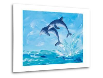 Soaring Dolphins I-Julie DeRice-Metal Print