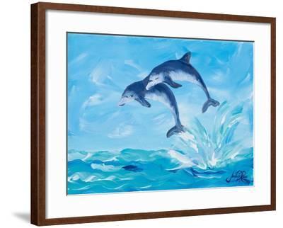 Soaring Dolphins I-Julie DeRice-Framed Art Print