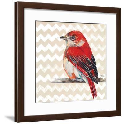 Cheveron Baby Red Bird II-Patricia Pinto-Framed Premium Giclee Print