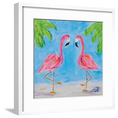 Fancy Flamingos III-Julie DeRice-Framed Premium Giclee Print