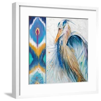 Blue Heron Ikat II-Patricia Pinto-Framed Art Print