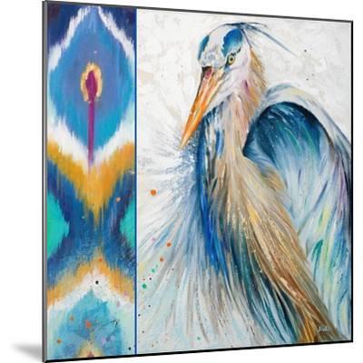 Blue Heron Ikat II-Patricia Pinto-Mounted Art Print