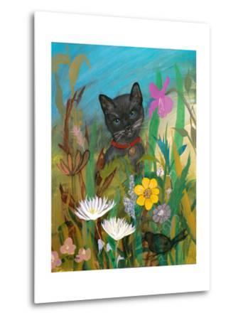 Cat in the Garden-Robin Maria-Metal Print