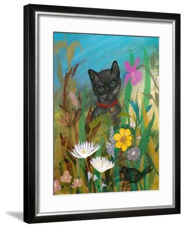 Cat in the Garden-Robin Maria-Framed Art Print