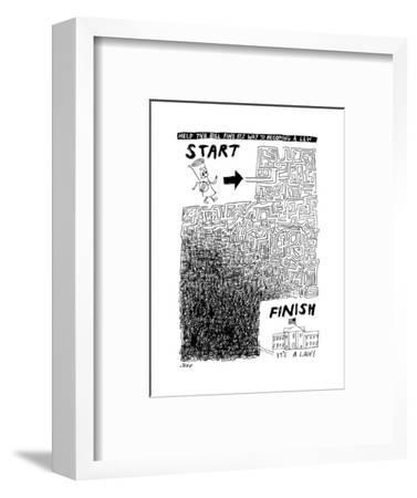A diagram showing a tangled maze between a document and the US Capitol -- ... - New Yorker Cartoon-Edward Steed-Framed Premium Giclee Print