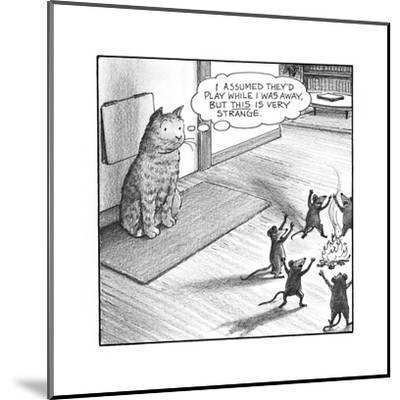 Cat watching mice - Cartoon-Harry Bliss-Mounted Premium Giclee Print