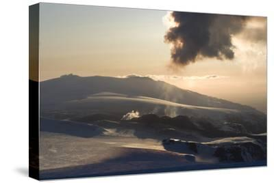 Plume of Ash from Eyjafjallajokull Volcano, Silhouetted Against Sunset, Southern Iceland-Natalie Tepper-Stretched Canvas Print