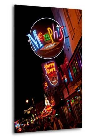 Beale Street at Night in Memphis Tennessee--Metal Print