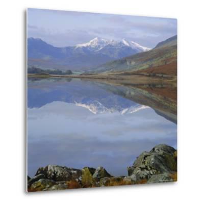 The Snowdon Range from Capel Curig Across Llynnau Mymbr, Snowdonia National Park, North Wales, UK-Roy Rainford-Metal Print