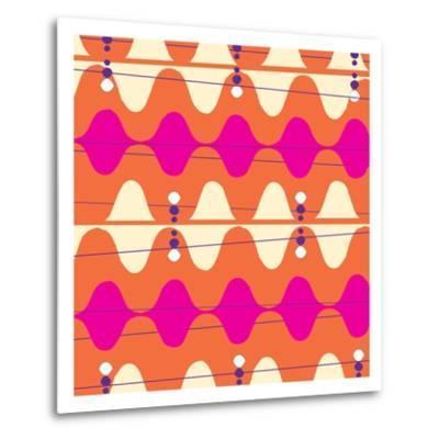 Retro Wave Pattern Orange--Metal Print