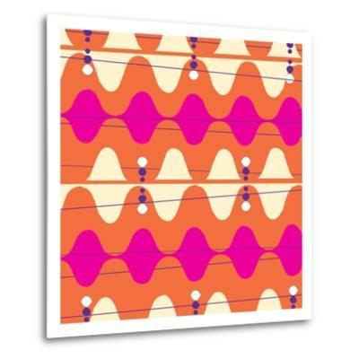Retro Wave Pattern Orange--Metal Print