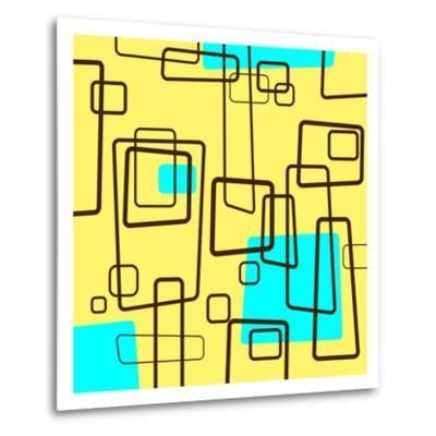 Retro Square Pattern Blue and Yellow--Metal Print