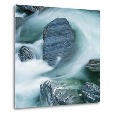 Rushing water and rocks on South Island, New Zealand-Micha Pawlitzki-Metal Print
