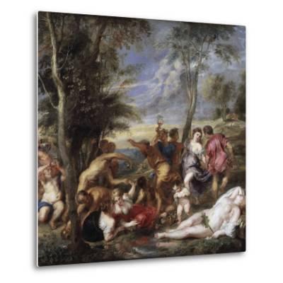 Bacchanal at Andros by Peter Paul Rubens--Metal Print