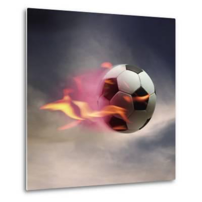 Flaming Soccer Ball--Metal Print