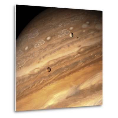 Io and Europa over Jupiter-Michael Benson-Metal Print