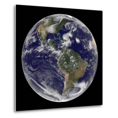 Earth and Four Storm Systems-Stocktrek Images-Metal Print