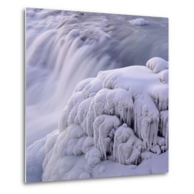 Frozen Gullfoss Waterfall--Metal Print
