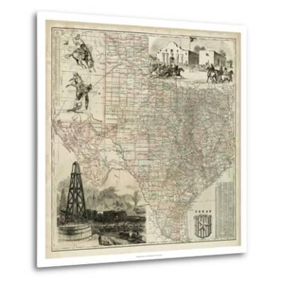 Map of Texas--Metal Print