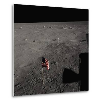 American Flag on the Moon--Metal Print