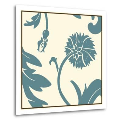 Teal Floral Motif III-Chariklia Zarris-Metal Print
