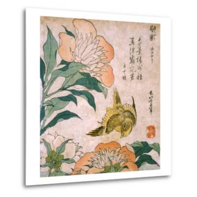 Peony and Canary-Katsushika Hokusai-Metal Print