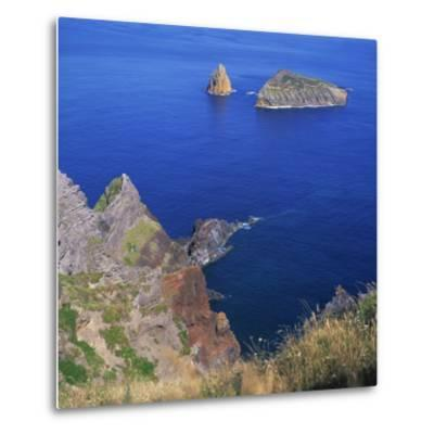 Rock Formations on the Volcanic Coastline on the Island of Graciosa in the Azores, Portugal-David Lomax-Metal Print