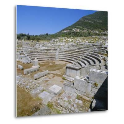 Amphitheatre at Sanctuary of Zeus, Mavromati Ithomi, Peloponese, Greece, Europe-Tony Gervis-Metal Print