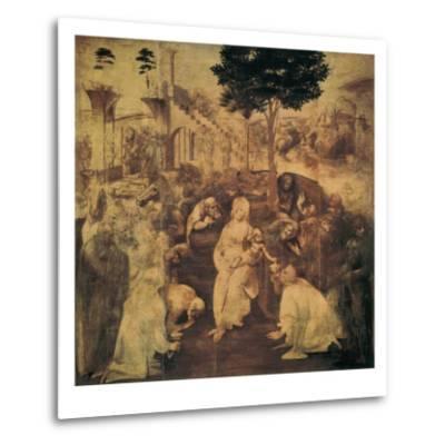 Adoration of the Magi-Leonardo da Vinci-Metal Print