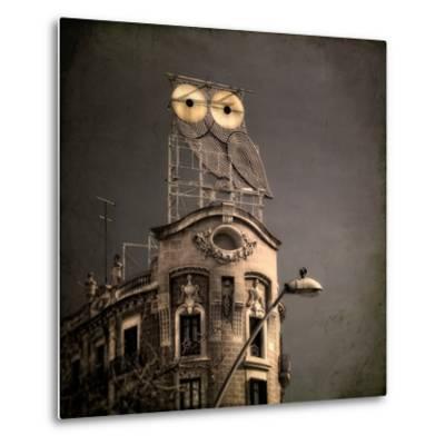 An Owl on a Roof in the City-Luis Beltran-Metal Print