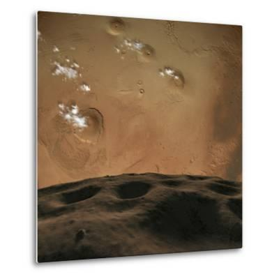 Phobos Orbits So Close to Mars That the Planet Would Fill the Little Moon's Sky-Stocktrek Images-Metal Print